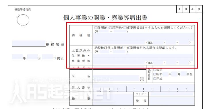 個人事業主開業届の納税地記入例